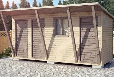 Каркасный сарай с навесом 5х2
