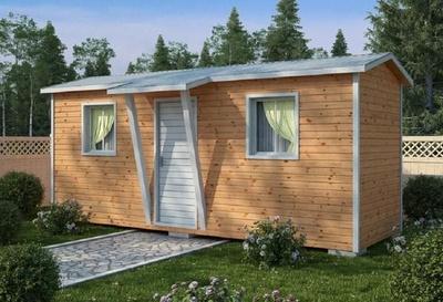 Деревянный сарай с навесом 6х2