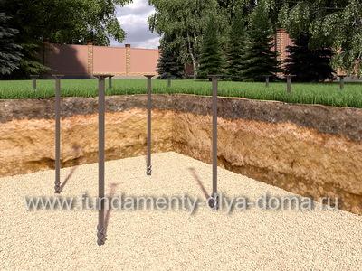 Винтовой фундамент для дома из бруса 6х7