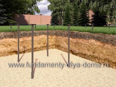 Свайный фундамент для дома из бруса 8х8