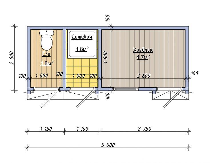 Хозблок и душ под одной крышей