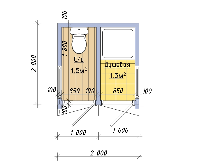 Душ и туалет под одной крышей размеры